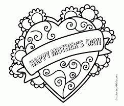 Printable Mothers Day Coloring Pages At Wuppsy A Floral Heart With Banner That Says Happy