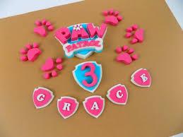 personalisierte rosa paw patrol pink petrol abzeichen zucker einfü zuckerguss kuchen topper essbare geburtstag versand aus uk