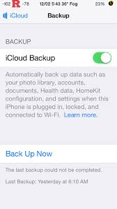 iCloud Backup Could not be pleted