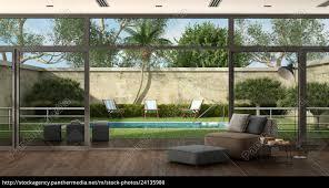 lizenzfreies foto 24135980 wohnzimmer einer villa mit pool