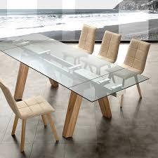 moderner tisch ausziehbar aus glas und massivholz florida