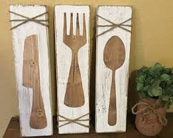 Rustic Kitchen Wall Art Fork Knife Spoon Decor Silverwear