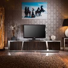 Details About Large Luxury TV Cabinet Ebony Gloss Coffee Glass Top Stainless Frame V