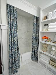 Make Draperies And A Wooden Cornice For A Shower | HGTV Bathroom Curtain Ideas For All Tastes And Styles Mhwatson Window Dressing Treatment Ideas Ikea Treatment To Take Your The Next Level Creative Home 70 In X 72 Poinsettia Textured Shower Fountain Hills Coverings Target Set Net Blue Showers Small Rods 19 Excellent Grey Inspiration Beach Shower 15 Elegant Symmons Decor Bay Bedroom Have Curtains Decorating Rustic Better Homes Gardens