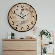 wanduhr uhr keep calm wohnzimmer 70 cm deko modern hdf