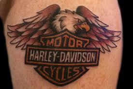 Traditional Harley Davidson And Eagle Biker Tattoo By Sara Eve