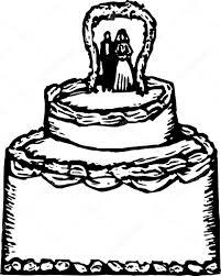 Woodcut Illustration of Wedding Cake — Stock Vector