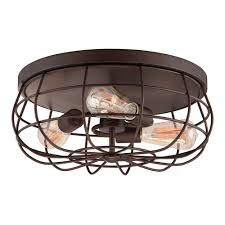 lighting ideas rustic rubbed bronze drum shade flush mount