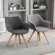 details zu 2er set stuhl esszimmerstuhl stoff grau polsterstuhl sessel armlehnstuhl