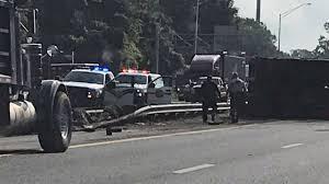 100 Dump Truck Crash FHP Truck Overturns On I10 After Crash With Car