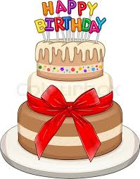 Vector illustration of 3 floors birthday cake with Happy Birthday text on top Stock Vector