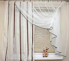 details zu geraffte fertig gardine weiß creme braun 350 165 wohnzimmer küche schlafzimmer