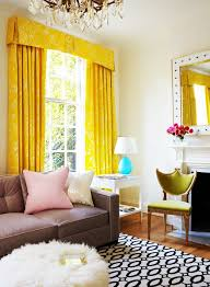 Bright Living Room With Yellow Curtains