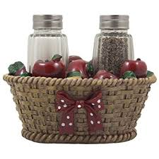 Apple Basket Glass Salt And Pepper Shaker Set With Holder In Country Kitchen Decor Decorative