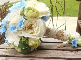 Rustic Wedding Bouquet Ivory Blue And Green Silk Bridal Bouquet