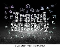 Vacation Concept Travel Agency In Grunge Dark Room Stock Illustration