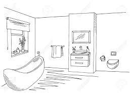 badezimmer interieur schwarz weiß grafik kunst skizze vektor illustration