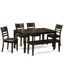 Capri Cappuccino Finish Solid Rubberwood 6 Piece Dining Set With Table Four Wood Or