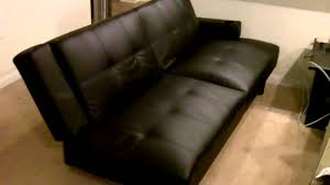 Mainstays Sofa Sleeper Black Faux Leather by Futon Couch Black Leather Cup Holders Nice Youtube