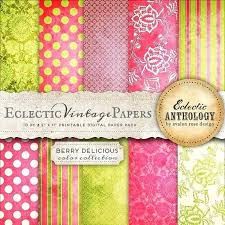 Printable Scrapbook Paper Patterns Instant Download Eclectic Vintage Papers Berry Delicious Commercial Use Free