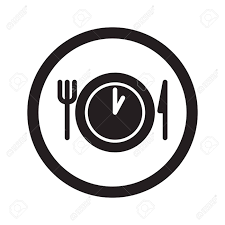 Flat Black Lunch Time Web Icon In Circle On White Background Stock Vector