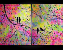 Large Abstract Love Birds In Tree Acrylic Painting Romance Contemporary Modern Silhouette Diptych Over The Bed JMichael