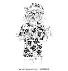 Cat Dressed Up In Aloha Shirt Drinking Cocktail Furry Art Illustration Fashion Animals