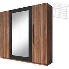 drehtürenschrank mit spiegel vera 20 modernes garderobe schrank elegantes kleiderschrank 4 türig schlafzimmerschrank mit 5 einlegeboden und