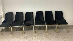 schwarze samtstühle mit goldenen beinen 6 stück esszimmerstühle