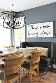 Large Wood Farmhouse Country Sign Dining Room Upholstered Bench Wicker Chairs Benjamin
