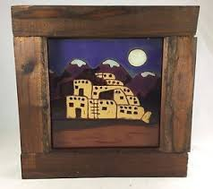Image Is Loading Hand Painted Tile Southwest Mountain Scene Territorial Tiles