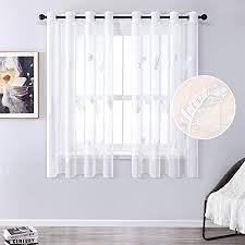 mrtrees gardine aus voile vorhang blumen vorhänge mit ösen gardinenschals in leinenoptik gardinen kurz stickerei weiß 145 140cm h b für wohnzimmer