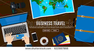Business Trip Hotel Reservations Using Laptop Passport With Tickets Photo Camera Travel
