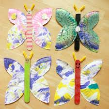 Marbled Paper Plate Butterfly Craft Coolcrafts Crafts