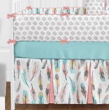 Sweet Jojo Designs Crib Bedding by Coral Turquesa Rosa Gris Blanco Oro Bohemio Pluma Niña Bebé Cama