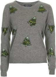 Topshop Charcoal Lightweight Knit Jumper With Sequin Christmas Tree Embellisht 57 Nylon 37 Acrylic