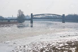 100 Magdeburg Water Bridge The River Elbe Near With The Lift Bridge In Winter