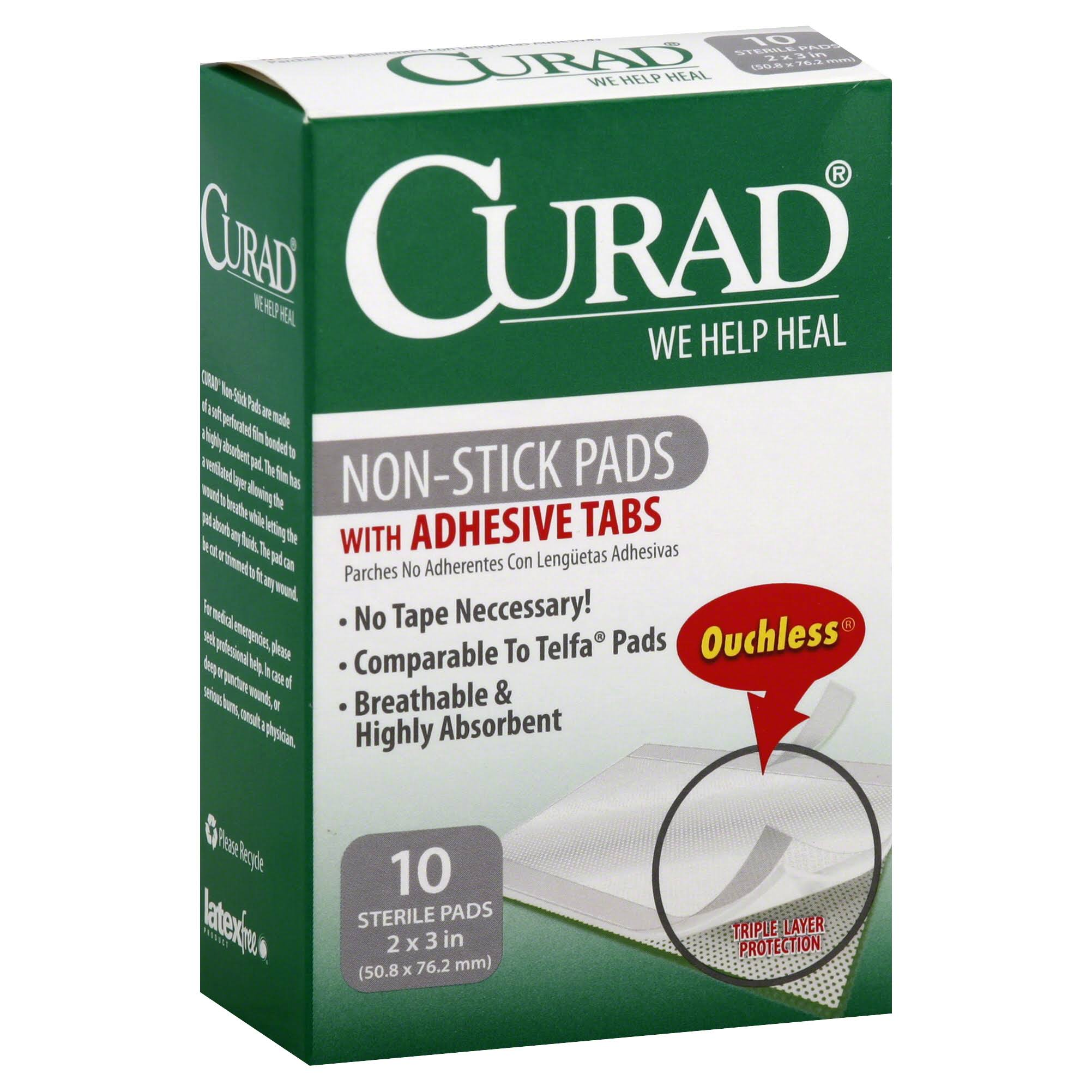 Curad Non-Stick Pads With Adhesive Tabs - 10 Sterile Pads
