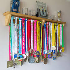 Medal Hanger Holder Trophy Shelf Wooden Gift Ideas For Runners Gymnastics Etc