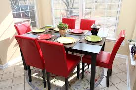 Amazon.com - LIFE Home 7 Pc Red Leather 6 Person Table And Chairs ... Ding Chair Velvet Modern Room Fniture Tufted Parson Set Chairs Red Leather Luxury Picture 3 Of 26 Eugene Parsons Faux Cappuccino Wood Add Contemporary Sophiscation To Your With Shop Classic Upholstered Of 2 By Inspire Q 89 Off Pottery Barn 5 Pc 4 Person Table And Red Dinette Black And Cool Crimson Eco W Glamorous Mid Century Pair Oxblood Club For