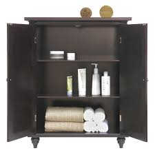 Tall Bathroom Cabinets Freestanding by Furniture White Wooden Linen Floor Cabinet With Shelf And Glass