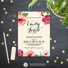 Tropical Wedding Invitation Printable Template DOWNLOAD Pink