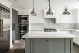 white kitchen with grey island transitional bathroom
