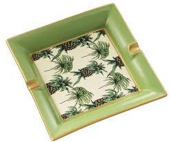 casa padrino luxus porzellan aschenbecher ananas design grün mehrfarbig 24 5 x 24 5 x h 4 cm wohnzimmer accessoires