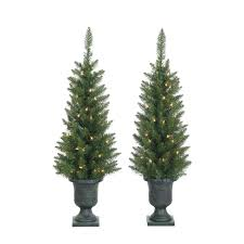 Slim Christmas Trees Prelit by 3 5 Ft Potted Norway Pine Pre Lit Slim Christmas Trees By