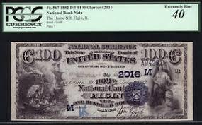 $100 1882 Date Back Home National Bank of Elgin Illinois SUPER
