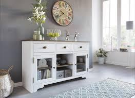 wohnling sideboard mayla mit 2 türen 140 cm weiß braun holz glas kommode