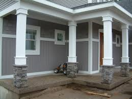 Exterior Attractive Image Front Porch Decoration Using Grey