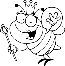 Bumblebee Queen With Royal Sceptre Coloring Page