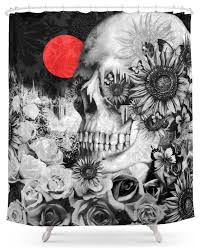 Black And White Flower Shower Curtain by Society6 Fire In The Dark Nature Skull Shower Curtain Eclectic